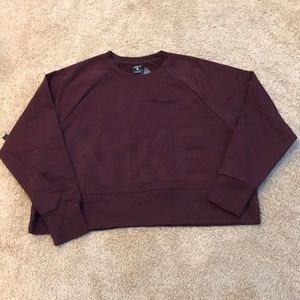 NWT! Nike dry fit crop terry training burgundy top